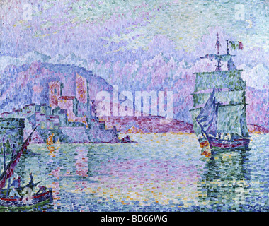 Bildende Kunst, Signac, Paul, (1863-1935), Malerei, 'Antibes, Abend', 1914, Öl auf Leinwand, Musée De La Ville, - Stockfoto