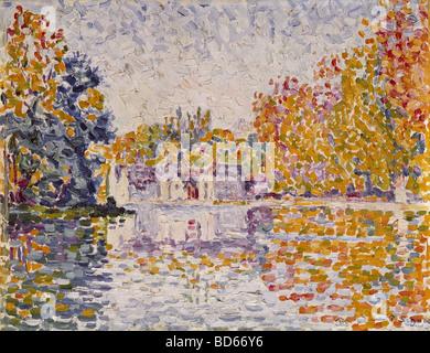"""Bildende Kunst, Signac, Paul, (1863-1935), Malerei, """"Seine in der Nähe von Samois"""", 1899, Öl auf Leinwand, Neue - Stockfoto"""
