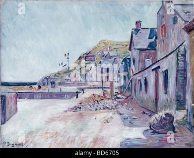 """Bildende Kunst, Signac, Paul, (1863-1935), Malerei, """"Bauernhäuser an der französischen Küste"""", Saarlandmuseums, - Stockfoto"""
