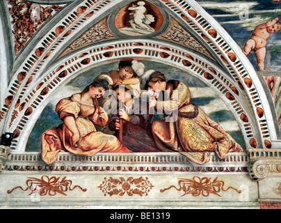 Trento, Castello del Buonconsiglio, Fresko - Stockfoto