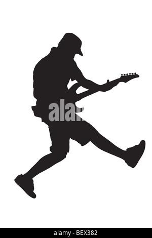 Schwarze Silhouette eines Rockstars - Stockfoto