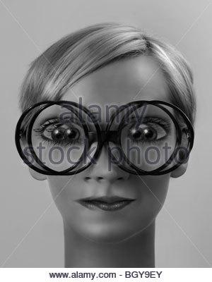 Frau mit Doppelbildern - Stockfoto