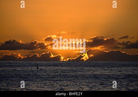 Sonnenuntergang von Puerto de Tazacorte, Atlantik, La Palma, Kanarische Inseln, Spanien, Europa - Stockfoto