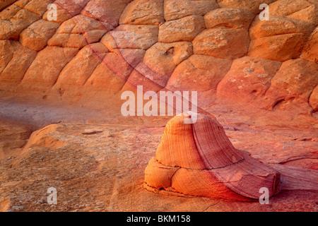 Strukturierte Sandsteinwand im Vermilion Cliffs National Monument, Arizona - Stockfoto