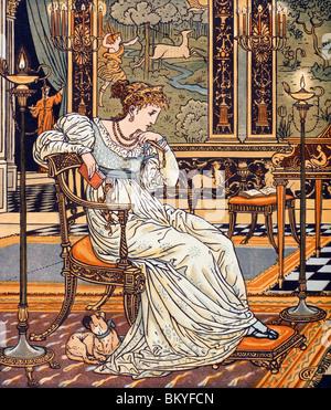 Königin im Stuhl mit Hund aus The Hind im Holz von Walter Crane 1890 (1845-1915)-USA-Illinois-Chicago-Newberry-Bibliothek - Stockfoto