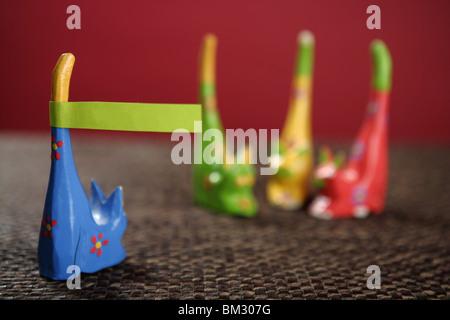 vier Farben Handwerk Katzen eine Kopie Raum Nachricht im Heck - Stockfoto