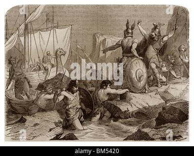 In Richtung 810, Wikinger kam zu Piraten entlang der Küsten von Friesland (heute Deutschland). - Stockfoto