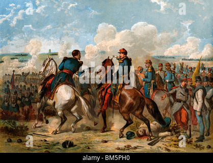 Napoleon III führende französische und sardischen Truppen gegen die Österreicher bei Solferino, Italien, 1859 - Stockfoto