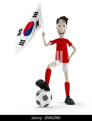 Lächelnde Cartoon Stil Fußballspieler mit Ball und Südkorea-Flagge - Stockfoto