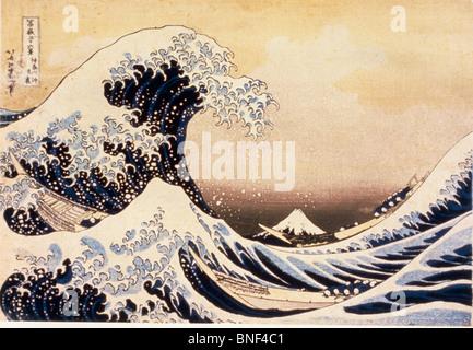 Die große Welle vor Kanagawa von Katsushika Hokusai Holzschnitt drucken Edo-Zeit des 19. Jahrhunderts 1760-1849 - Stockfoto