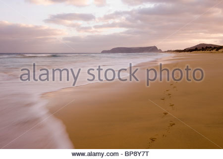Fußabdrücke auf Porto Santo Strand bei Sonnenuntergang, Vila Baleira, Porto Santo, in der Nähe von Madeira, Portugal - Stockfoto