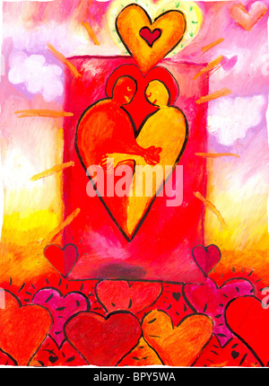 Abbildung zweier Menschen umarmt inmitten rote Herzen - Stockfoto