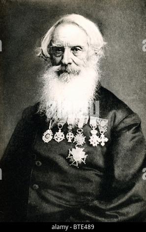 Samuel Morse, Erfinder des Morse-Code in einem Porträtfoto von Brady mit seinen vielen Medaillen und Dekorationen - Stockfoto