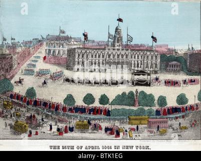 Abraham Lincolns Leichenwagen und Prozession vor dem Rathaus am 25. April 1865. New York-Prozession war die prächtigste - Stockfoto