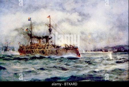 Die Schlacht von Manila Bay, den American Cruiser Olympia den ersten Schuss, 1. Mai 1898, Gemälde von Robert Hopkin - Stockfoto