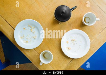 Draufsicht der Frühstückstisch - Stockfoto