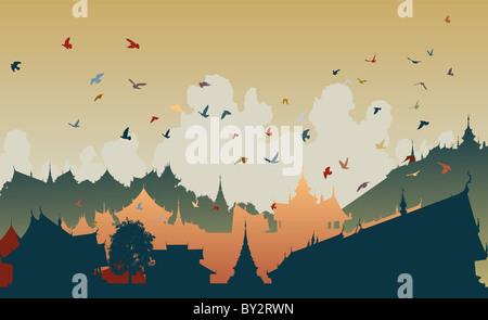 Bunte Illustration der Vögel über eine generische ostasiatische Stadt - Stockfoto