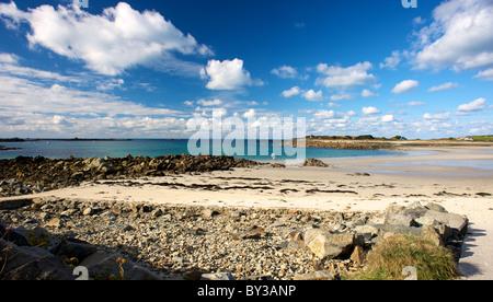 Chouet Strand Guernsey Sea Sand Felsen Windsurf - Stockfoto