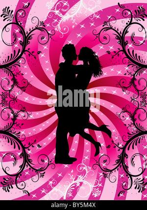 Vektor-Illustration paar Küssen auf Valentine Hintergrund mit Herzen und Schriftrollen. - Stockfoto