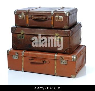 Vintage Koffer über einen weißen Hintergrund - Stockfoto