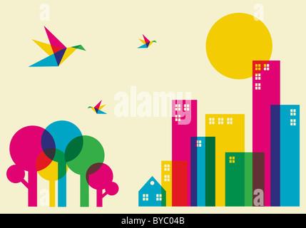 Frühling in der Stadt. Voller Farbe Brummen Vögel fliegen über den Wald und die Stadt. Vektor-Datei zur Verfügung. - Stockfoto