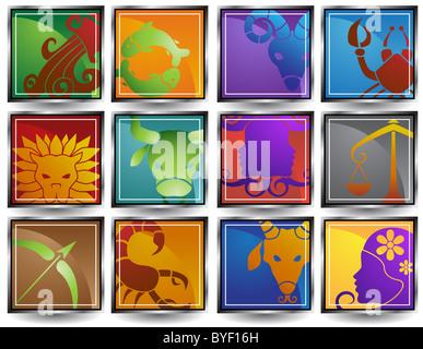 Ein Bild von den 12 Tierkreiszeichen. - Stockfoto