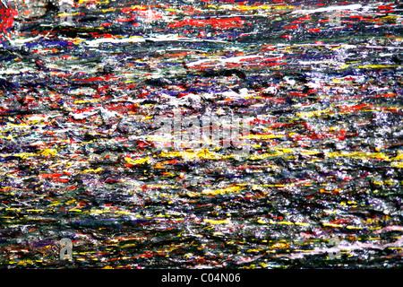 Tropfen von bunten Farbe an der Wand - Stockfoto