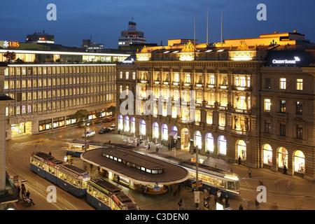 Bank UBS und Credit Suisse Paradeplatz, Zürich, Schweiz - Stockfoto