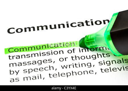 """Das Wort fühlte """"Kommunikation"""" in grün mit hervorgehobenen Filzstift - Stockfoto"""