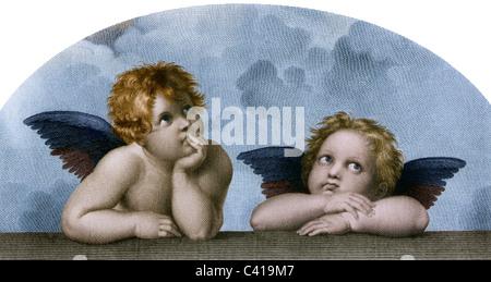 """Bildende Kunst, Raphael, Santi: """"Der Engel der die Sixtinische Madonna"""", Lichtdruck, nach einem Kupferstich von - Stockfoto"""