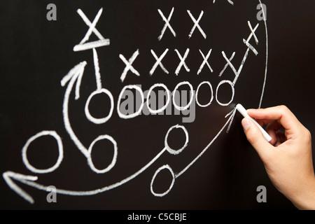 Handzeichnung eine Spielstrategie mit weißer Kreide auf eine Tafel. - Stockfoto