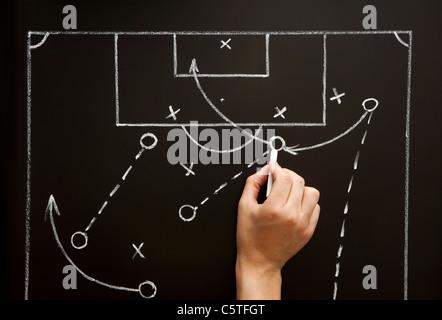 Mann eine Fußball-Spiel-Strategie mit weißer Kreide auf eine Tafel zu zeichnen. - Stockfoto