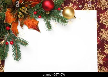 Weihnachts-Dekoration mit leere Karte. - Stockfoto