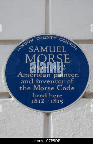 London Grafschaftsrat blaue Plakette markiert ein Haus von Samuel Morse, Morse-code-Erfinder und Maler, Cleveland - Stockfoto