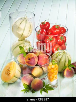 Auswahl der Sommer Obst - Stockfoto