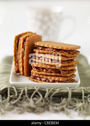Hausgemachte Spéculos und Schokolade Sandwich Kekse - Stockfoto