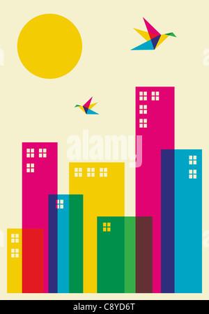 Frühling in der Stadt. Voller Farbe Brummen Vögel fliegen über die Stadt. Vektor-Datei zur Verfügung. - Stockfoto