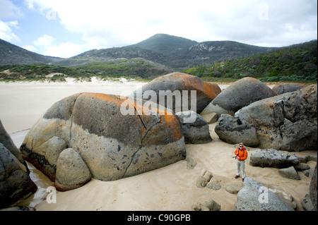 Granitfelsen, Whisky Bay, Wilsons Promontory National Park, Victoria, Australien - Stockfoto