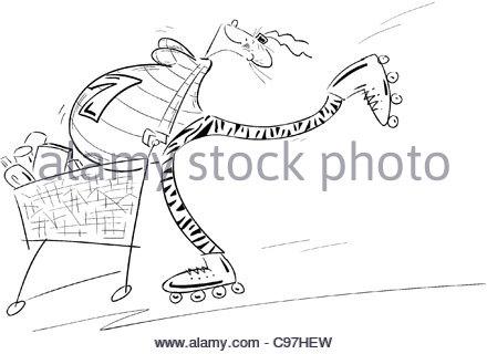 Schwanger mit Rollerblades und Warenkorb - Stockfoto