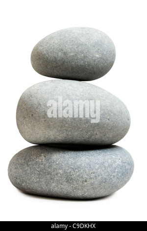 Haufen von großen Kieselsteinen (Kalkstein). - Stockfoto