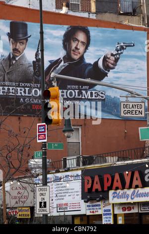 Chaotisches Durcheinander Straßenszene, Lower East Side von Manhattan, 14th Street & 1st Avenue, New York City, - Stockfoto