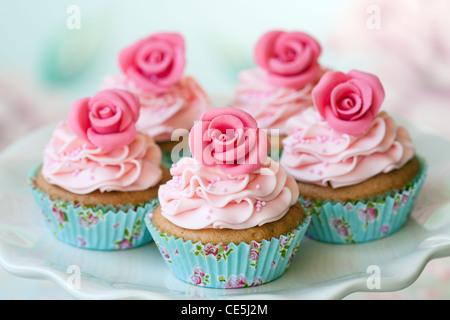 Rosen-cupcakes - Stockfoto