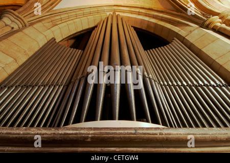 Die Orgelpfeifen der Southwark Cathedral. William Shakespeare wird geglaubt, um wann gewesen John Harvard, Gründer - Stockfoto