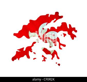 Karte von Hong Kong isoliert - Stockfoto