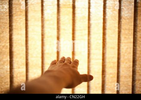 Die Hand und Frau Fenster blind - Stockfoto