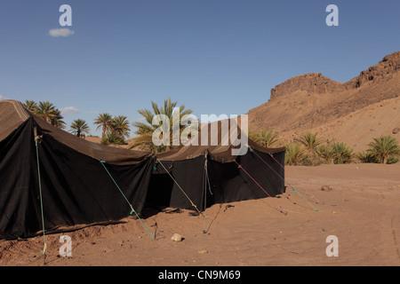 Traditionelle Berber Nomadenzelten aus Kamelhaar Bindfäden, Südmarokko, Wüste Sahara Afrika gemacht. - Stockfoto