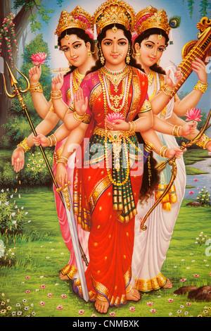 Bild der hinduistischen Göttinnen Parvati, Lakshmi und Saraswati, Indien, Asien - Stockfoto