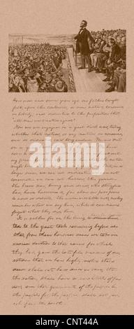 Vintage Bürgerkrieg Ära Druck von Präsident Abraham Lincoln die Gettysburg Adresse und eine Kopie seiner Notizen - Stockfoto