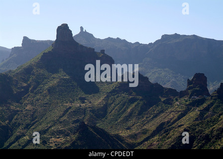 Blick zum Roque Nublo in der Nähe von Tejeda, Gran Canaria, Kanarische Inseln, Spanien, Europa - Stockfoto
