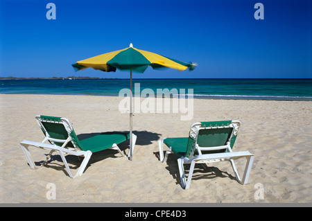 Strandszene, Corralejo, Fuerteventura, Kanarische Inseln, Spanien, Atlantik, Europa - Stockfoto